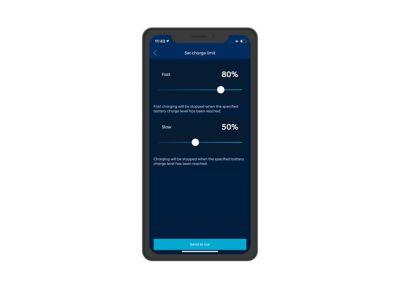 Screenshot di app Bluelink su iPhone: limiti di ricarica.
