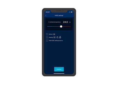 Screenshot di app Bluelink su iPhone: impostazioni di climatizzazione remote.