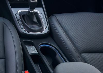 The new ambient light technology in the new centre console and footwell of the new Hyundai Kona.