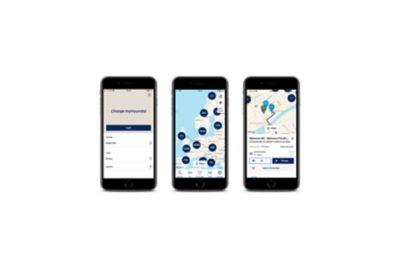 Tre skjermbilder med startside, kart og informasjon om ladepunkt i Charge MyHyundai-appen. Illustrasjon.