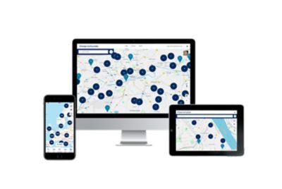 dobíjecí místa zobrazena na mapě v telefonu, počítači a tabletu