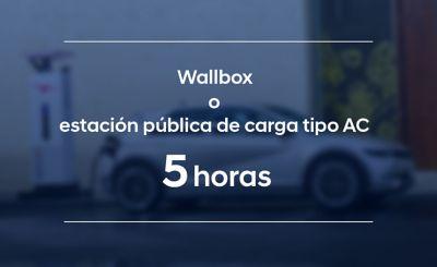 La batería de autonomía estándar del Hyundai IONIQ 5 se carga en 5 horas en una estación de carga de corriente alterna.