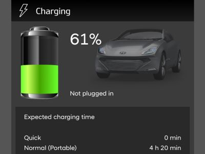 App Bluelink mostra il controllo carica della batteria.
