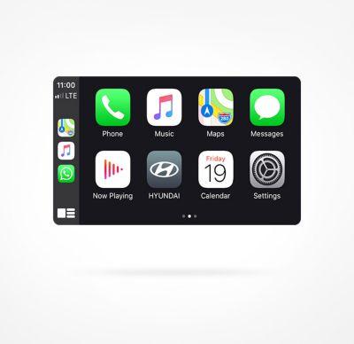 Vista en detalle del sistema Display Audio del Hyundai KONA Híbrido eléctrico.