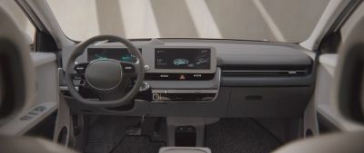 Digitalt 12,3-tommers instrumentdisplay på førerplassen i elbilen Hyundai IONIQ 5 Project 45 crossover. Foto.