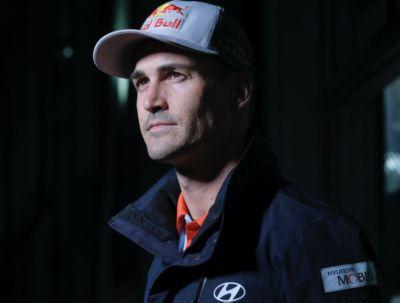 Close-up of Hyundai Motorsport driver Dani Sardo smiling