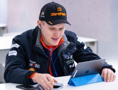 Hyundai Motorsport driver Ott Tänak during an interview