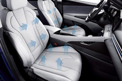 Nowy Hyundai Elantra – układ 3-stopniowej wentylacji foteli przednich.