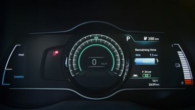 "7"" digital cluster of the Hyundai KONA Electric"