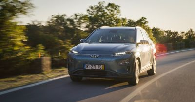 The Hyundai KONA Electric driving