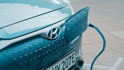 Hyundai KONA Electric front with opened charging socket