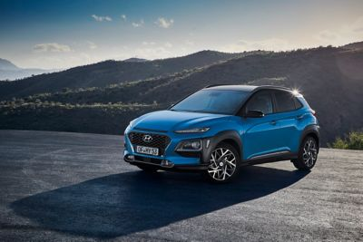 The Hyundai KONA Electric in a mountainside