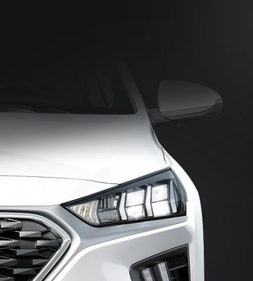 A close up view of the full LED headlamps on the Hyundai IONIQ Hybrid.