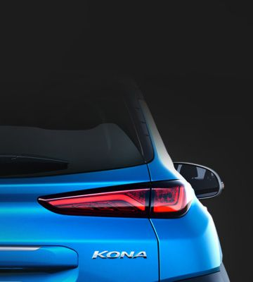 A close up view of the rear LED lamps on the new Hyundai KONA Hybrid.
