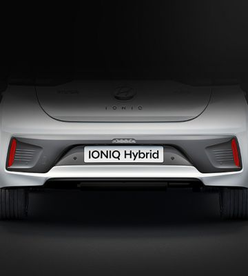 The new Hyundai IONIQ Hybrid pictured from the rear.
