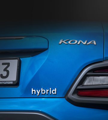 A close up view of the hybrid badge of the new Hyundai KONA Hybrid.
