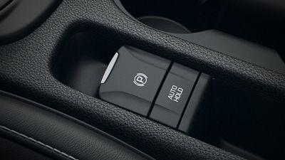 Dettaglio del freno di stazionamento elettrico (EPB) di Hyundai KONA Hybrid.