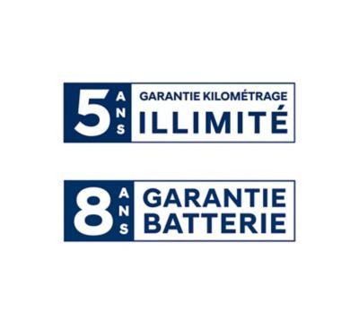 Garantie 5 ans kilométrage illimité et garantie 8 ans de la batterie par Hyundai