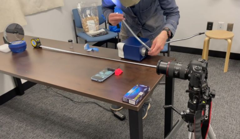 Rafael Attias and students test their own Schlieren Optics device, in an attempt to visualize heat sources.