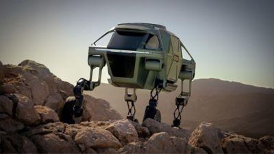 Elevate walking car, navigation a field of boulders