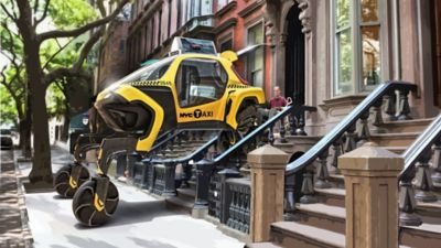 Elevate walking car as a taxi, picking up a person from their home