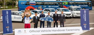 Photo from the official vehicle handover ceremony at the 2018 FIFA World Cup Russia™.