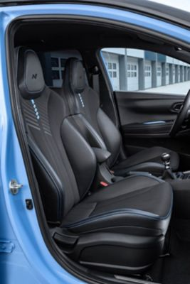 The dedicated sport seats on the all-new Hyundai i20 N.