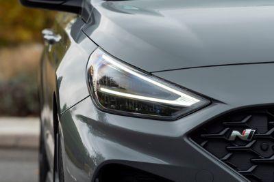 The striking new headlamp design of thenew Hyundai i30 Fastback N.