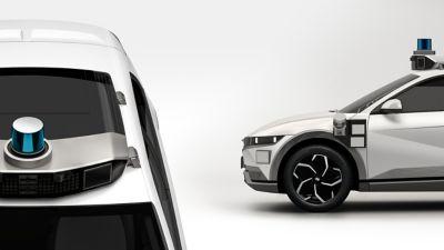 Close up view of the Hyundai Motional IONIQ 5 robotaxi exterior sensors for autonomous driving.