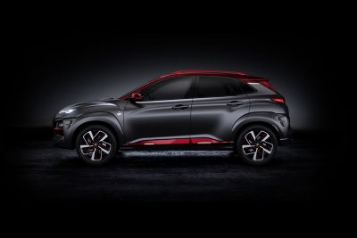 The all-new Hyundai Kona Iron Man Edition, pictured from the side.