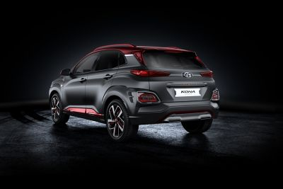Rear view of the Hyundai Kona Iron Man Edition.