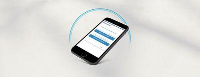Immagine di uno smartphone con una schermata di accesso a Hyundai Account