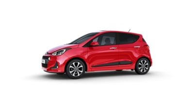 The Hyundai i10, pictures from the side, with its chromed door handles clearly visible.