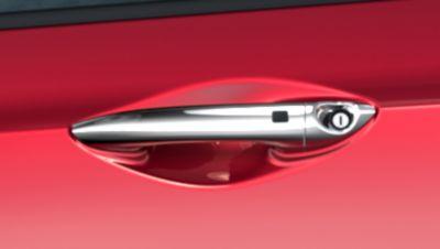 The chromed door handles on the Hyundai i10.