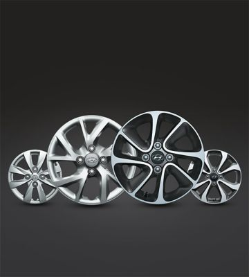 The range of wheels for the Hyundai i10.