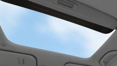 The sunroof on the Hyundai i10.