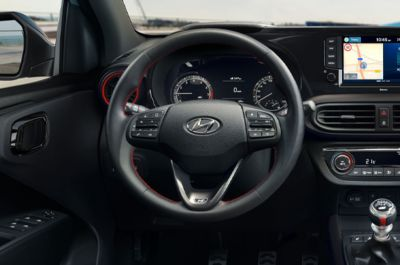 Close-up of the All-New Hyundai i10 N Line steering wheel