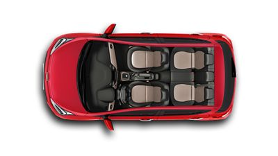 The Hyundai i10, pictured from the top, showing its spacious interior seating.