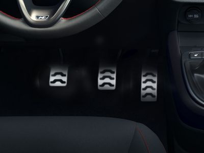 Close-up of the All-New Hyundai i10 N Line metal pedals