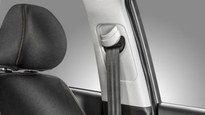 Photo showing the height-adjustable seatbelts on the Hyundai i10.