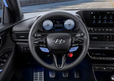The N steering wheel in the all-new Hyundai i20 N with its customisable N keys.