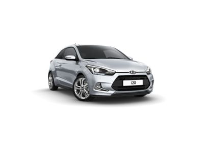 The Hyundai i20 Coupe, pictured from the front and side.