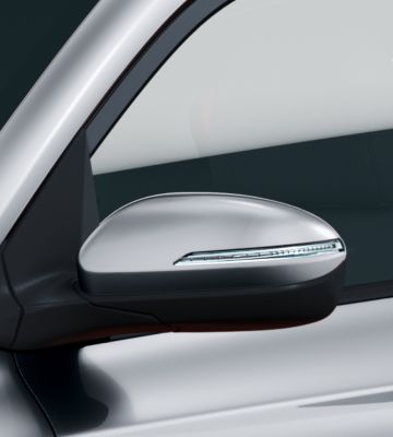 Close-up view of the Hyundai i20 Coupe's side mirrors.