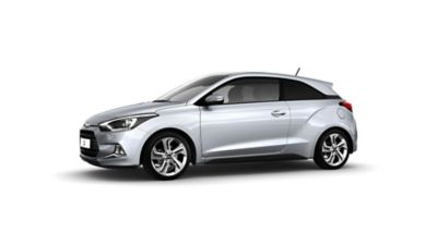 Close-up view of the Hyundai i20 Coupe's sloping roofline.