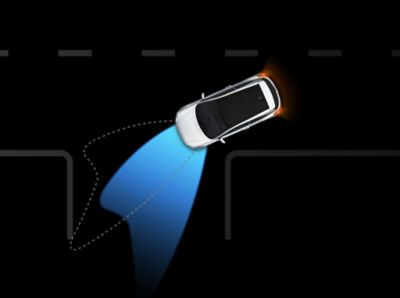 Graphic showing the Static Bending Lights functionality on the Hyundai i20 Coupe.