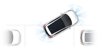 Graphic showing the parking assist system in the Hyundai i20 Coupe.