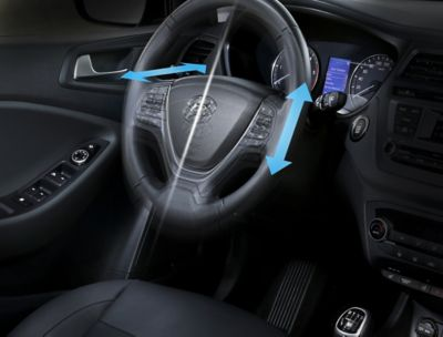 Graphic showing the tilt & telescopic power steering wheel  in the Hyundai i20 Coupe.