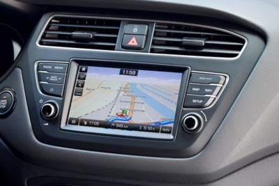 Photo of the navigation system screen on the new Hyundai i20 Active.