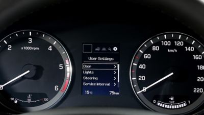 The supervision cluster on the new Hyundai i20 Active.