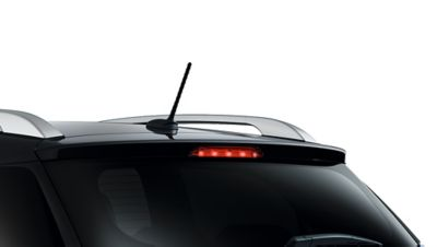 A photo showing the aerodynamic rear spoiler on the new Hyundai i20 Active.